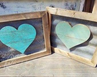 Heart Sign - Corrugated Metal - Nursery Room - Baby Girl - Baby Boy - Rustic Sign - Kids Room Sign - Anniversary Sign - Reclaimed Wood Sign