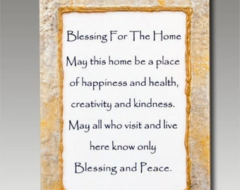 Home Blessing Small Glass Hanging Plaque Hand Painted