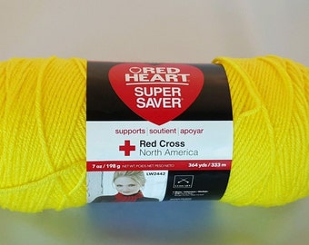 Red Heart Super Saver BRIGHT YELLOW Yarn 7 oz Worsted Weight 4