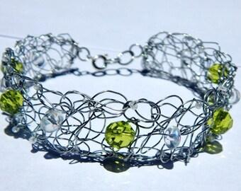 Light/Lime Green Bracelet- Crochet Wire Jewelry - Trixified