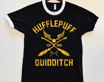Cute HUFFLEPUFF Hogwarts Quidditch Black Ringer T Shirt. Harry Potter Tumblr T shirt