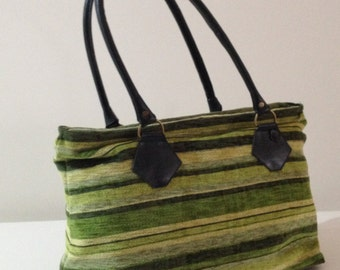 The Large Tote Bag - Leather and Fabric in Green (Sample)