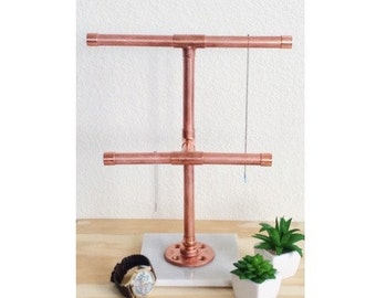 Copper Pipe Jewelry Holder Stand With Carrara Marble Base