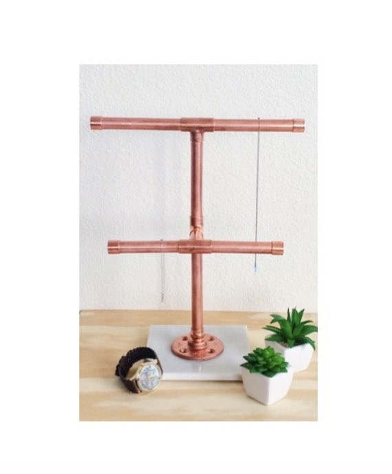 Copper pipe jewelry holder stand with carrara marble base for Sawyer marble jewelry stand