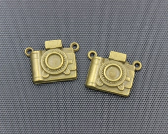 20pcs Camera Connector Charm Antique Bronze Tone 20x18mm - BH58