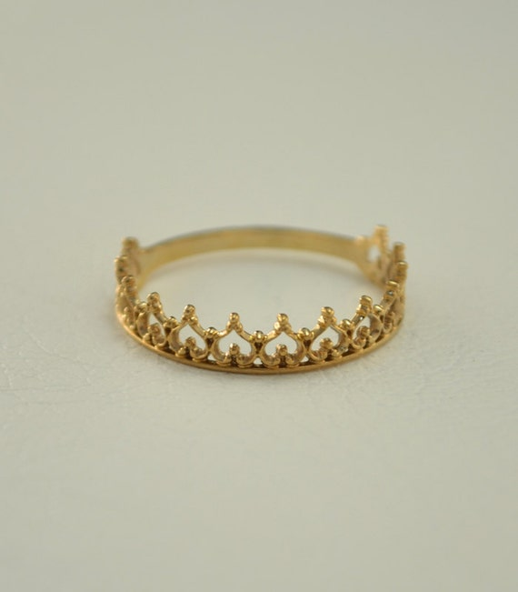 crown wedding band small crown ring princess tiara ring thin ring