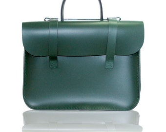 Real Leather - Music Case - Laptop Case - Messenger Bag - Music Bag - Racing Green