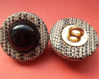 11 buttons brown black 19mm (247) button