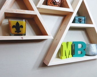 Geometric Shelf, Triangle Geometric Shelf, Geometric Shelves, Minimalist Shelves - Set of 3