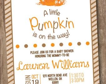 Fall Pumpkin Baby Shower Invitation - Printable - Little Pumpkin on the Way