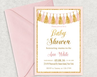 Pink and Gold Tassels Invitation, Tassels Baby Shower Invitation, Printable Invitation, Girl Baby Shower Invite, Pink Tassels and Gold Shine