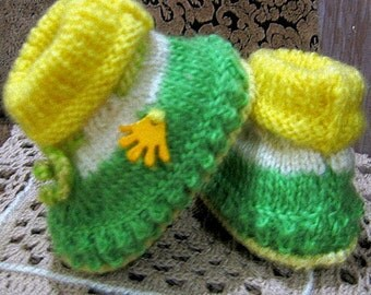 Green yellow knitting Baby booties baby girl and boy booties