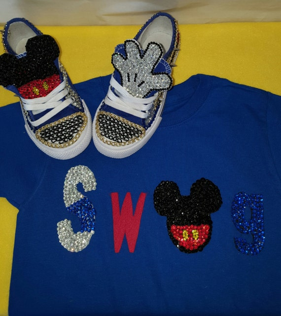 Blinged out Mickey Mouse Swag Tee with matching Converse