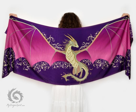 Purple silk scarf with a dragon wings
