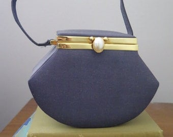 Hexagon, navy, 1980's, handbag,