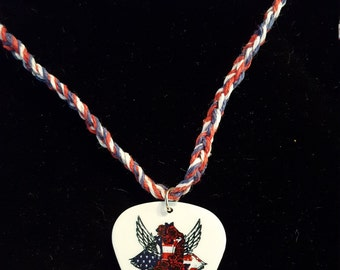 Red, White, and Blue Guitar Pick Hemp Cord Necklace
