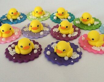 Rubber Duck Fondant Cupcake Topper Set of 12