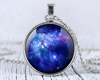 Galaxy blue necklace, blue nebula pendant, space necklace, universe jewelry p25