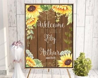 Printable welcome wedding sign, rustic wedding sign, wood background, sunflower wedding decor. Fall country wedding. Digital wedding sign