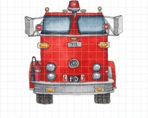 Fire Engine Ink and Watercolor Clipart - Red Fire Truck Digital Stamp - Printable Instant Download - Whimsical Firefighter Art by PNG-Me
