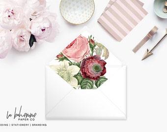 Printable Envelope Liner  | Botanical Envelope Liner | Envelope Liner Template - Floral Bouquet