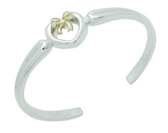 Beautiful Sterling Silver and 18K Gold Heart Ribbon Cuff Bracelet
