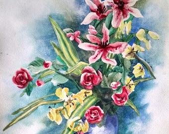 Original Watercolor Painting Spring Flowers