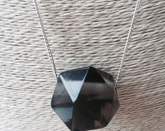 Geometric clear resin necklace on silver chain