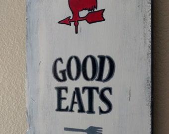 Good Eats Wooden Kitchen Sign