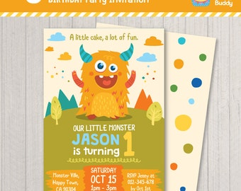 Little Monster Birthday Party Invitation | Boys Birthday | Digital Printable | PERSONALIZED Invite