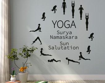 Sun Salutation Yoga Wall Decal- Yoga Studio Vinyl Wall Decal- Surya Namaskara Yoga Studio Decor- Yoga Wall Art Vinyl Lettering Home Decor #8