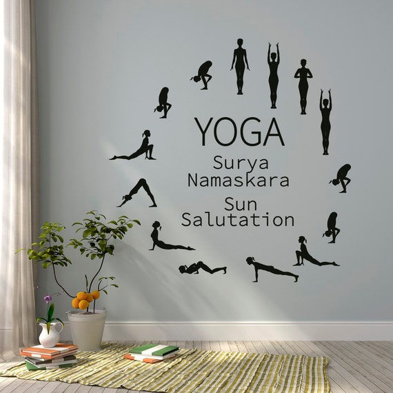 Sun Salutation Yoga Wall Decal Yoga Studio Vinyl Wall Decal - Yoga studio wall decals