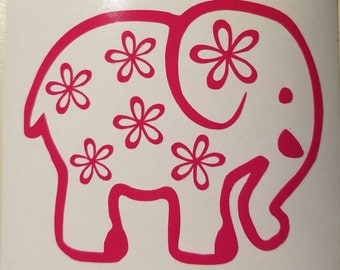 Elephant with flowers Decal -permanent vinyl - perfect for frames, signs, room decor, car windows, Yeti & Rtic tumbler cups, etc.
