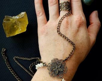 Hemp and Chain Slave Bracelet