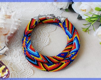 Lady chakra necklace Colorful chunky woman necklace Rainbow statement jewelry Blue beaded crochet necklace Jewelry birthday gift for sister
