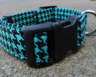 Teal & Black Houndstooth Collar
