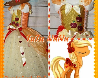 Handmade Girls Princess Applejack My Little Pony Tutu Dress