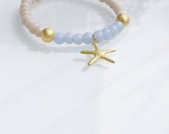 Beach beaded bracelet with gold Starfish pendant