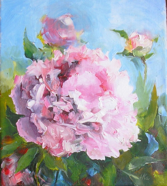 Cabbage Rose Flower Print Purple Abstract Art Kitchen Wall: Peony Painting Oil Pink Peonies Original Painting Oil Canvas