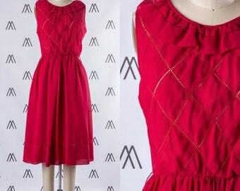 1970s Red Sleeveless Diamond Pattern Midi Dress with Ruffle Neckline