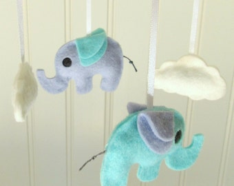 Elephant and cloud baby mobile in blue / Nursery decoration