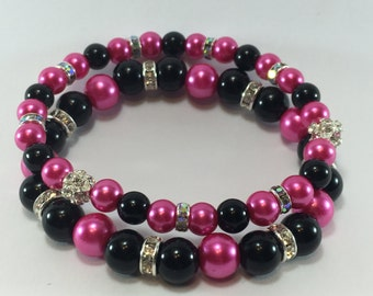 Hot Pink and Black Pearl Set