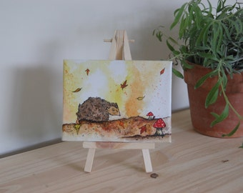 Hedgehog,Autumn: Mini Canvas & Easel