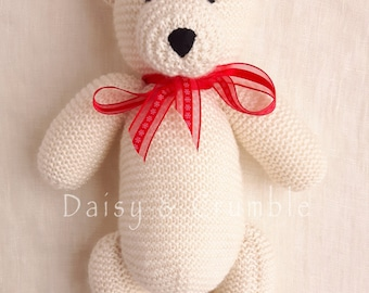 Teddy bear-handmade toy-plush bear-hand knitted bear-knit toy-stuffed handmade teddy bear-baby newborn gift-baby photo prop-MADE TO ORDER