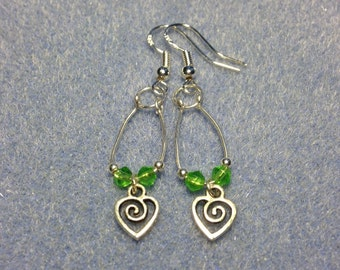 Sterling Silver Heart and Green Crystal Dangle Earring