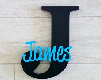 Kids Wooden Letters Name Sign - Wooden name sign - Nursery Letters - Kids Wooden Wall and door Letters - Black