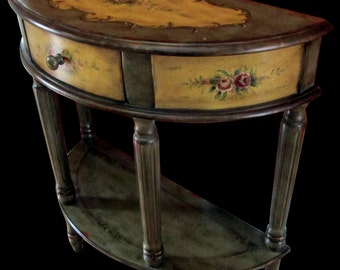Demilune Crescent Hand Painted Console Table