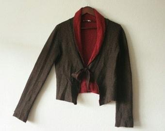 Mohair knitted bolero jacket in bordo and brown Long sleeve tied at front bolero cardigan Shawl neckline V neckline Warm winter fashion