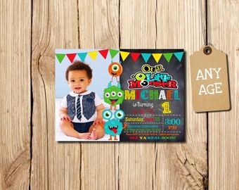 LITTLE MONSTER INVITATIONS, Little Monster Invitation, Little Monster, First Birthday Invitation, with photo, Monster Birthday Invitation