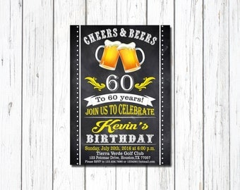 Beer Invitation, Surprise Birthday, Beer Birthday Invitation, Cheers And Beers Invitation, 50th Beer Party Invitation, Adult Birthday